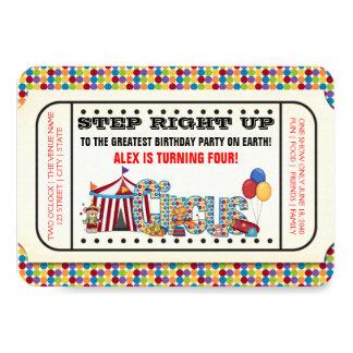 Vintage Circus Ticket Birthday Party Card