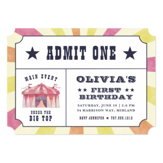 Vintage Circus Ticket Birthday Party Invitation