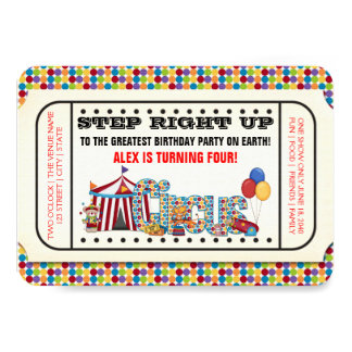 Vintage Circus Ticket Birthday Party 3.5x5 Paper Invitation Card