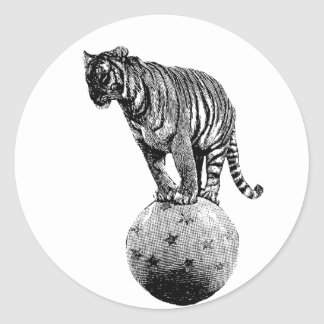 Vintage Circus Tiger Gifts Classic Round Sticker