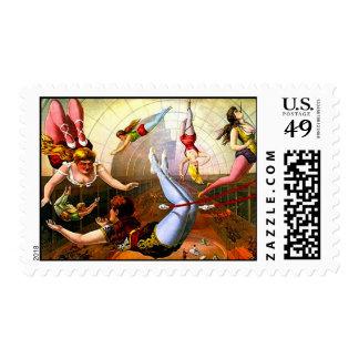 Vintage Circus Trapeze Act Flying Ladies Art Stamp