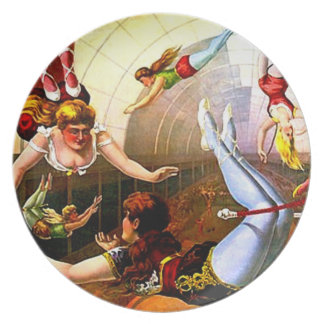 Vintage Circus Trapeze Lady Act Poster Wall Art Dinner Plate