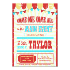 Vintage circus typography birthday party invite 5