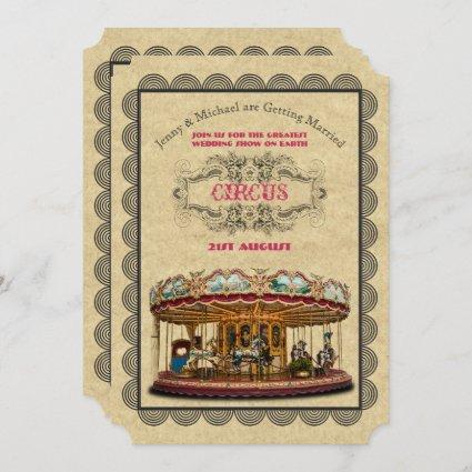 Vintage Circus Wedding Invitations Carnival