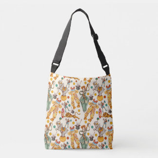 Vintage Circus with Clowns and Animals, Retro Crossbody Bag