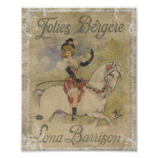Vintage Circus Woman on White Horse Poster