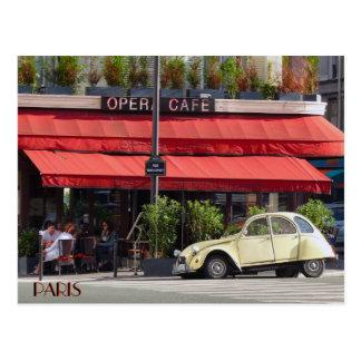 Vintage Citröen Car Outside a Paris Café Postcard