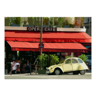 Vintage Citroën Car Outside a Paris Café Poster