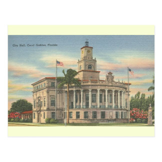 Vintage City Hall Coral Gables Florida Postcard