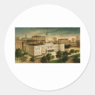 Vintage City Hall New York Classic Round Sticker