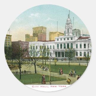 "Vintage ""City Hall"" New York Classic Round Sticker"