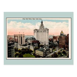 Vintage City Hall Park New York City Postcard