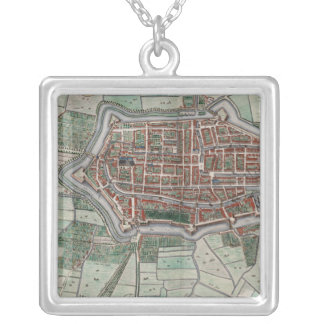 Vintage city map of Alkmaar Silver Plated Necklace