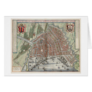 Vintage city map of Amsterdam Card