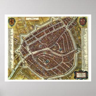 Vintage city map of Leiden Poster