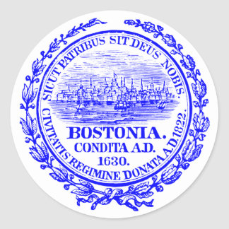 Vintage City of Boston Seal, cobalt blue Classic Round Sticker