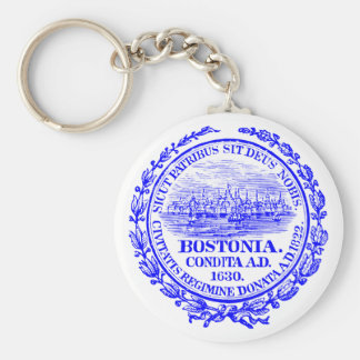 Vintage City of Boston Seal, cobalt blue Keychain