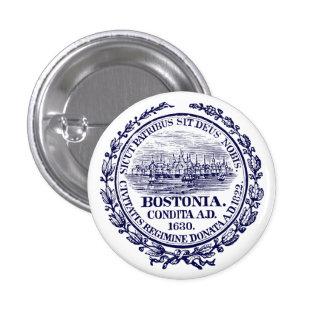 Vintage City of Boston Seal, dark blue Pinback Buttons