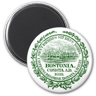 Vintage City of Boston Seal, green 2 Inch Round Magnet