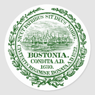 Vintage City of Boston Seal, green Classic Round Sticker