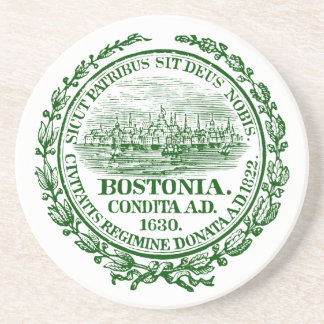 Vintage City of Boston Seal, green Drink Coaster