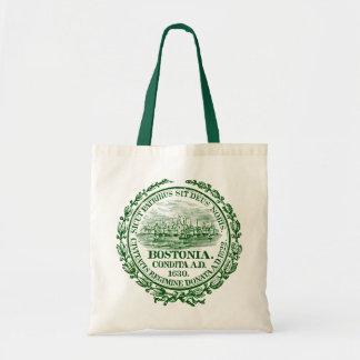 Vintage City of Boston Seal, green Tote Bag