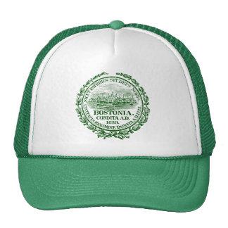 Vintage City of Boston Seal, green Trucker Hat