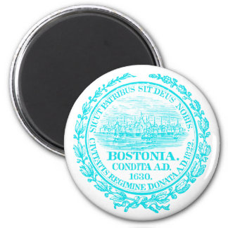 Vintage City of Boston Seal, light blue 2 Inch Round Magnet