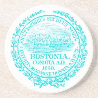 Vintage City of Boston Seal, light blue Beverage Coasters