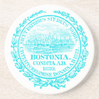 Vintage City of Boston Seal, light blue Drink Coaster