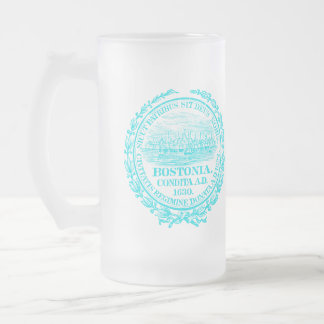 Vintage City of Boston Seal, light blue Frosted Glass Beer Mug