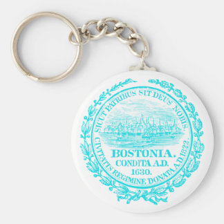 Vintage City of Boston Seal, light blue Keychain