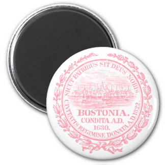 Vintage City of Boston Seal, pink 2 Inch Round Magnet