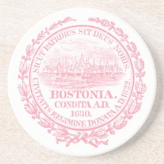 Vintage City of Boston Seal, pink Coaster