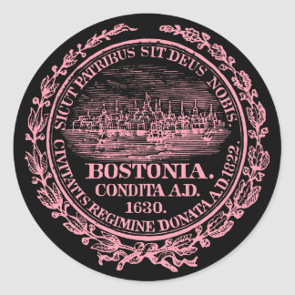 Vintage City of Boston Seal, pink Round Stickers