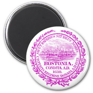 Vintage City of Boston Seal, purple 2 Inch Round Magnet