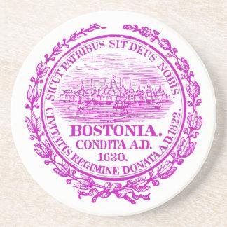 Vintage City of Boston Seal, purple Drink Coaster