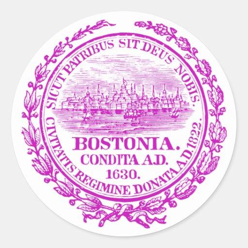Vintage City of Boston Seal, purple Round Stickers