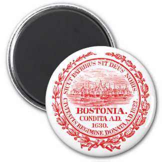Vintage City of Boston Seal, red 2 Inch Round Magnet