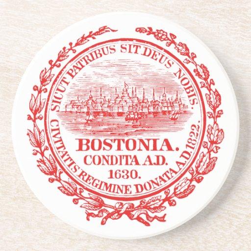 Vintage City of Boston Seal, red Beverage Coasters