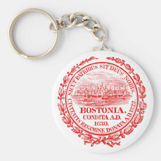 Vintage City of Boston Seal, red Keychain