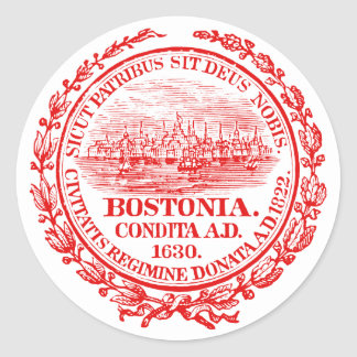 Vintage City of Boston Seal, red Stickers