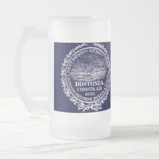 Vintage City of Boston Seal, white Frosted Glass Beer Mug