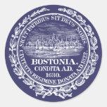 Vintage City of Boston Seal, white Classic Round Sticker