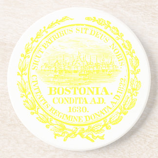 Vintage City of Boston Seal, yellow Coaster