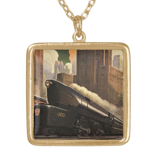 Vintage City, T1 Duplex Train on Railroad Tracks Gold Plated Necklace