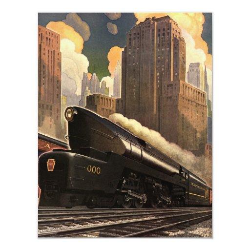 Vintage City, T1 Duplex Train on Railroad Tracks 4.25x5.5 Paper Invitation Card
