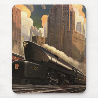 Vintage City, T1 Duplex Train on Railroad Tracks Mouse Pad