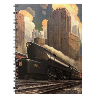 Vintage City, T1 Duplex Train on Railroad Tracks Notebook
