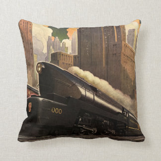Vintage City, T1 Duplex Train on Railroad Tracks Pillows